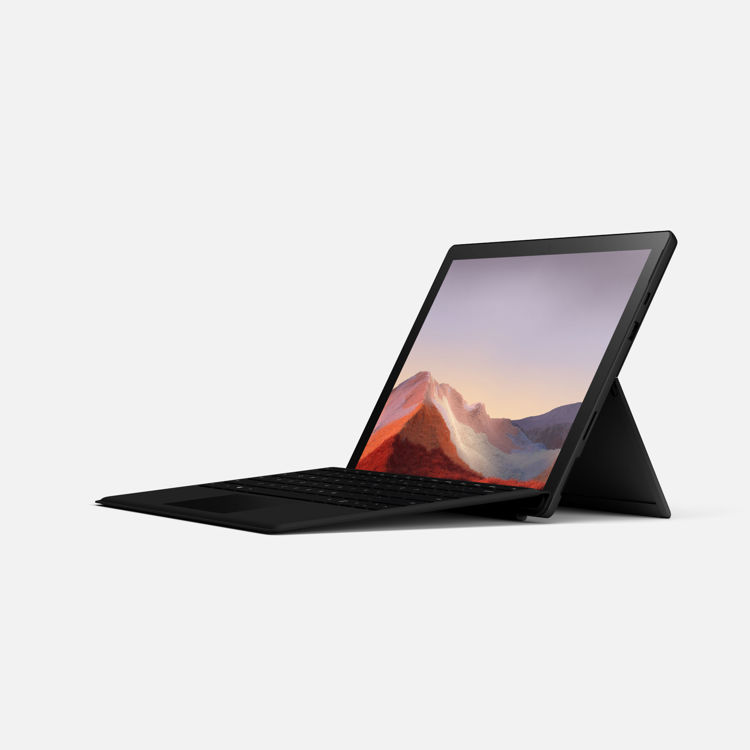Surface Pro 7 - Black - Angled with Keyboard